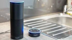 Zwei mit Alexa kompatible Geräte: die Amazon-Lautsprecher Echo und Echo Dot