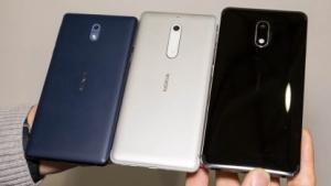 Von links nach rechts: Nokia 3, Nokia 5 und Nokia 6