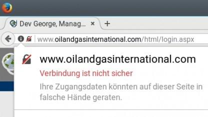 Die Seite von Oil and Gas International ist unsicher und der Firefox zeigt das an.