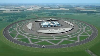 Flughafen mit kreisförmiger Startbahn: geneigt wie eine Steilkurve