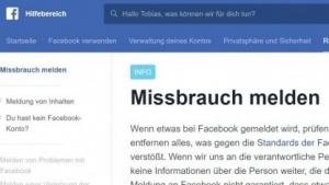Die Hilfeseite Facebooks zur Meldung von Missbrauch