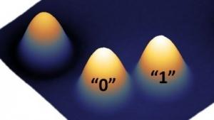 Ein-Atom-Speicher (Symbolbild): Holmiumatome werden zwischen zwei verschiedenen magnetischen Zuständen geschaltet.