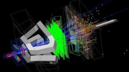 Simulation eines Ereignisses im Experiment LHCb