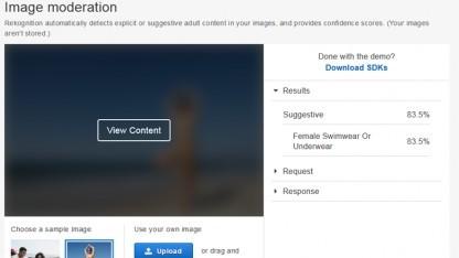 Amazon Rekognition erkennt explizite Inhalte.