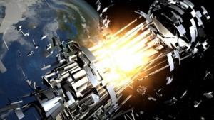 Explosion eines Satelliten: selbstverstärkender Effekt