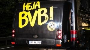 Der angegriffene Mannschaftsbus des BVB