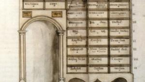 Zeichnung eines historischen Archivs