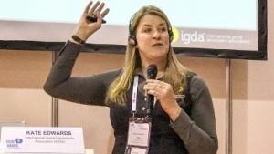 Kate Edwards von der IDGA auf der Quo Vadis 17 in Berlin.