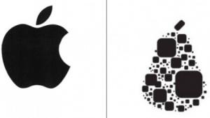 Die Logos von Apple und Pear Technologies im Vergleich