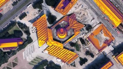 Potenziell verfügbare Dächer werden gelb eingefärbt.