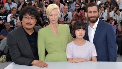Die Crew von Okja in Cannes: Bong Joon-Ho, Tilda Swinton, Ahn Seo-Hyun und Jake Gyllenhaal (v.l.nr.r)