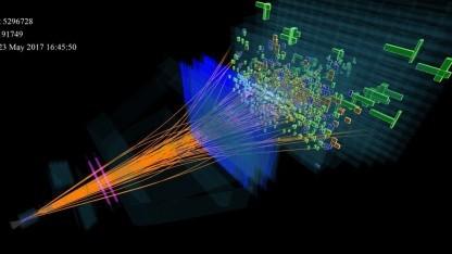 Teilchenkollision am Experiment LHCb am 23. Mai 2017: Neuer Linearbeschleuniger eingeweiht.
