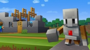Der Agent führt Befehle von Code Builder in Minecraft aus.