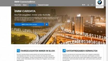 Über BMW-Cardata lassen sich die Fahrzeugdaten einsehen und verwalten.