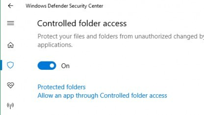 Controlled Folder Access in Windows 10