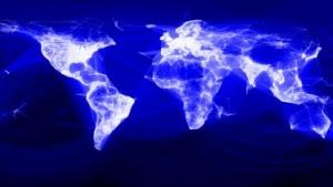 Die Karte von Facebook leuchtet dort besonders, wo die Firma viele Mitglieder hat.