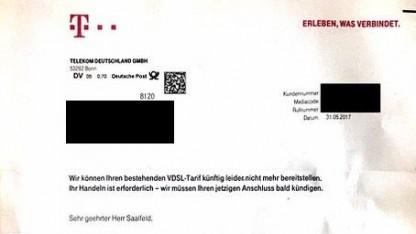Kündigungsschreiben der Telekom