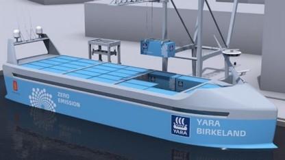Das offene Containerschiff Yara Birkeland