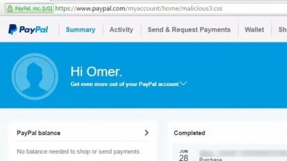 Die Paypal-Webseite gab Daten auch preis, wenn man einen unsinnigen Dateinamen mit CSS-Endung anfügte.