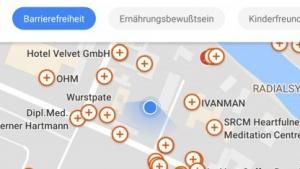 Die Übersichtskarte mit Orten, an denen Informationen zur Barrierefreiheit fehlen.