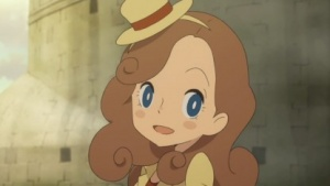 """Kat"" Layton in ihrem Standard-Outfit"