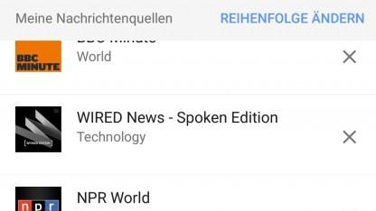 Die Nachrichtenquelleneinstellungen des Google Assistant