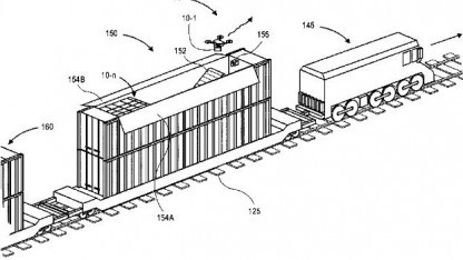 Mobile Drohnenstation auf einem Zug: könnte liegengebliebene Drohnen auflesen.
