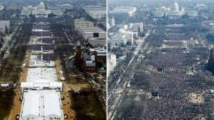 Bei Donald Trumps Amtseinführung war weniger los als bei Obamas.