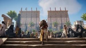 Mit Bayek erkunden wir in Assassin's Creed Origin die Tempel von Memphis.