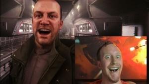 Spieler und alter Ego zeigen den gleichen Gesichtsausdruck.