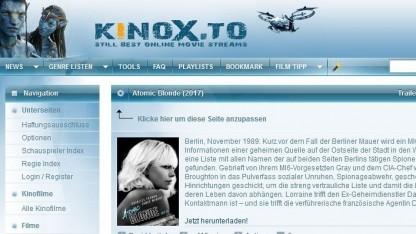 Homepage von Kinox.to im Juli 2017
