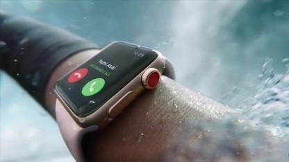 Die neue Apple Watch hat eine rote Krone.