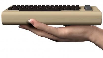 Der THEC64 Mini sieht aus wie ein kleiner C64, die Tastatur funktioniert aber nicht.