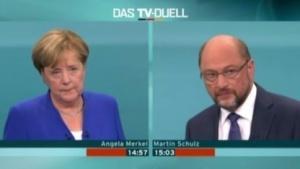 Bundeskanzlerin Merkel und SPD-Herausforderer Schulz im TV-Duell
