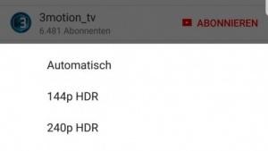 Die Qualitätsauswahl bei einem HDR-Video auf Facebook.