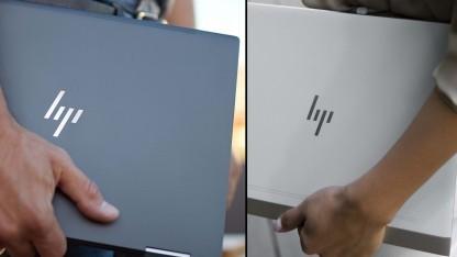 Auf der Rückseite beider Geräte ist das HP-Logo zu sehen.