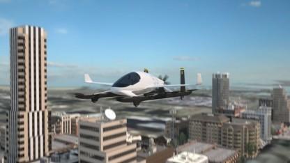 Ein Lufttaxi von Aurora Flight Sciences (Symbolbild) landet auf dem Dach eines Parkhauses.