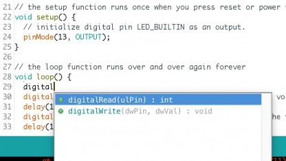 Arduino IDE mit Autovervollständigung