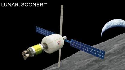 So soll Bigelows Raumstation im Mondorbit aussehen.