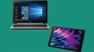 Sowohl das Tablet als auch das Notebook werden bei Aldi angeboten.