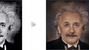 Adobe Scribbler färbt Albert Einstein ein.