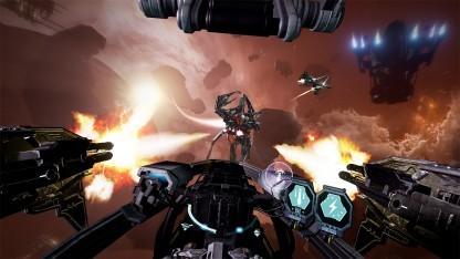 Das VR-Weltraumspiel Eve Valkyrie schickt Spieler in Raumjägern ins All.