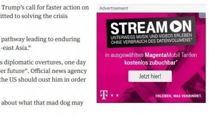 Werbung der Deutschen Telekom für Stream On.