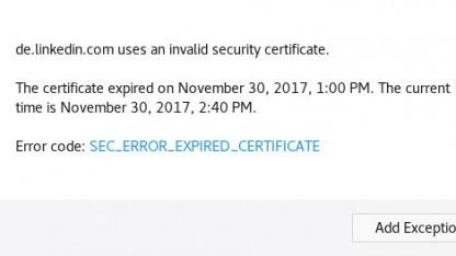 Diesen Fehler sahen heute LinkedIn-Nutzer, die auf eine der nationalen Subdomains zugreifen wollten.