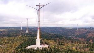 Windrad bei Gaildorf: Das Fundament ist ein Wasserspeicher.