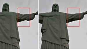 Der Arm der Christusstatue vor und nach dem Stitching mit dem neuen Algorithmus