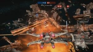 Star Wars Battlefront 2 schickt Spieler im X-Wing ins All.