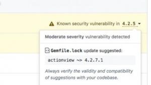 Github warnt vor Sicherheitslücken in Abhängigkeiten.
