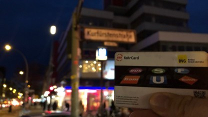 Die VBB-Fahrcard eines Kollegen mit platzierter Aktivität in der Kurfürstenstraße