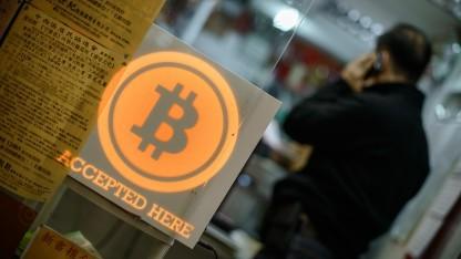 Geschäft in Hong Kong, in dem mit Bitcoin bezahlt werden kann.